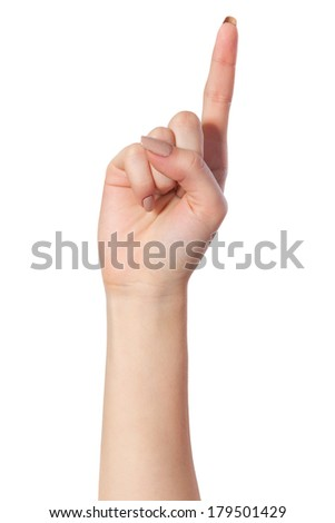 Woman index finger isoalted on a white background - stock photo
