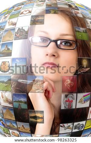 Woman inside virtual multimedia presentation - stock photo