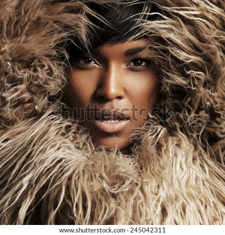 woman into the fur - stock photo