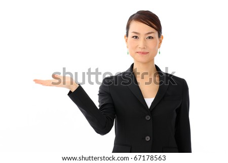 Woman introducing something - stock photo