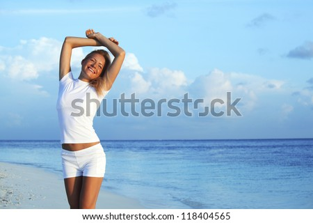 woman ion sea beach - stock photo