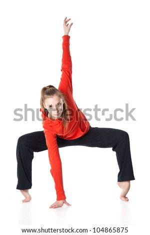 Woman is an acrobat. Isolated on white background