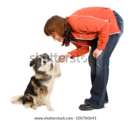 woman is dog training - stock photo
