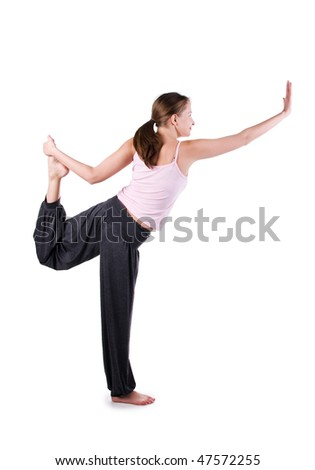 Woman is engaged in yoga on a white background