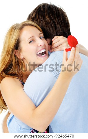 Woman is overjoyed at her proposal and upcoming wedding - stock photo