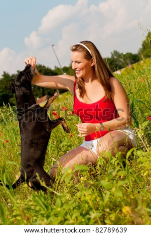 Woman is playing with her dog on a meadow in summer