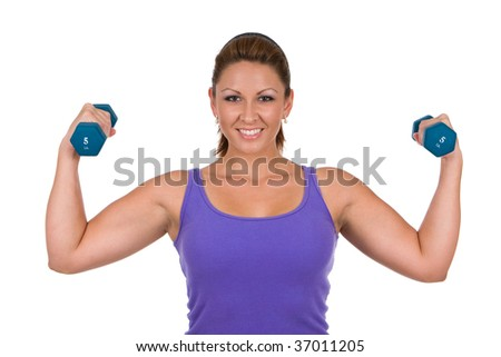 Woman is pumping iron, exercising with dumbbell weights. - stock photo