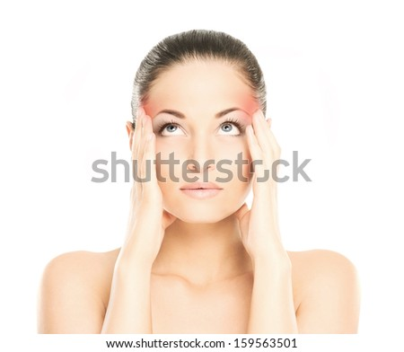 Woman is suffering of the head ache isolated on white - stock photo