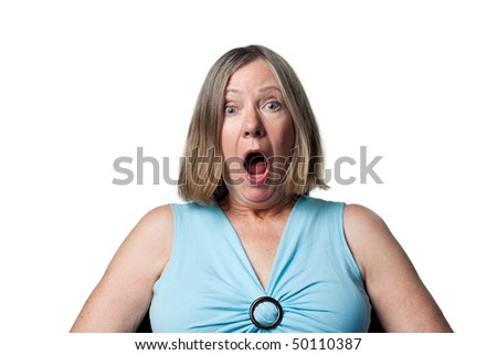 Woman is surprised to have won a prize - stock photo