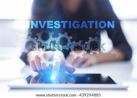"Woman is using tablet pc, pressing on virtual screen and select ""Investigation"".  - stock photo"