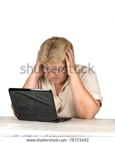 woman is working at laptop