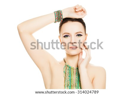 Woman Isolated. Makeup Manicure Nails and Jewelry - stock photo