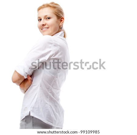 Woman. Isolated over white. - stock photo