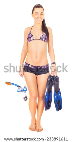 woman isolated standing wearing snorkel holding snorkeling fins standing isolated on white - stock photo