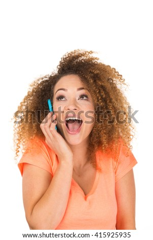 Woman Isolated Talking On Phone Over White Background - stock photo