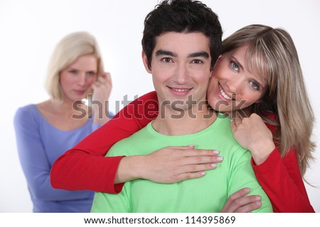 Woman jealous of couple - stock photo