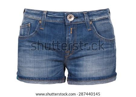 woman jean shorts - stock photo