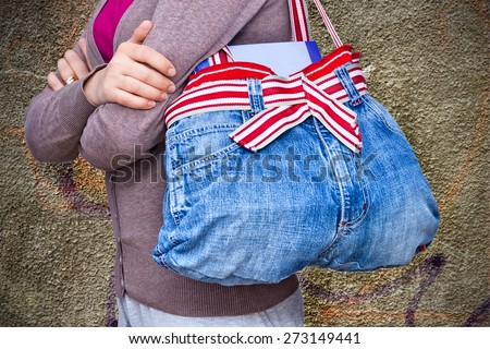 Woman jeans bag - upcycling idea - stock photo