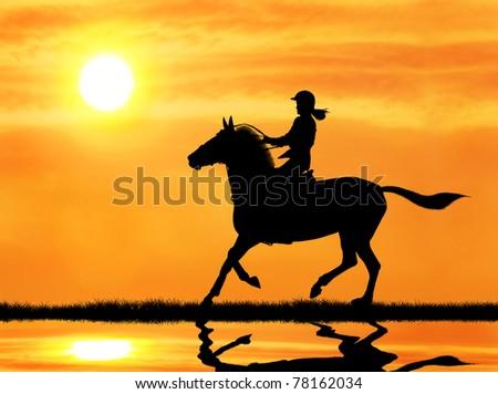 woman jockey riding horse during sunrise - stock photo