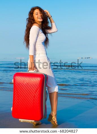 Woman Joy Baggage - stock photo