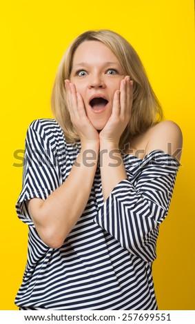 woman joy surprise - stock photo