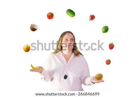 Woman juggles with fruit - stock photo