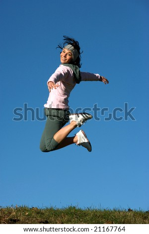 woman jump outdoors