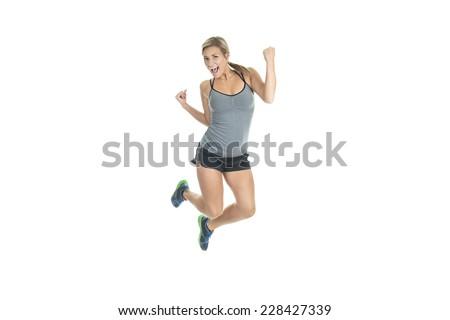 woman jump sport jogging - stock photo