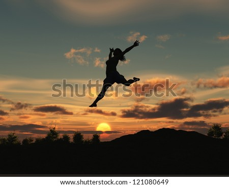 Woman jumping at dawn