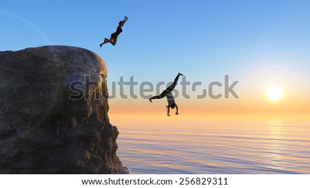 woman jumping from a rock into the sea - stock photo