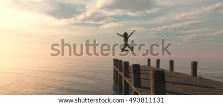 Woman jumping from the pontoon to ocean. This is a 3d render illustration