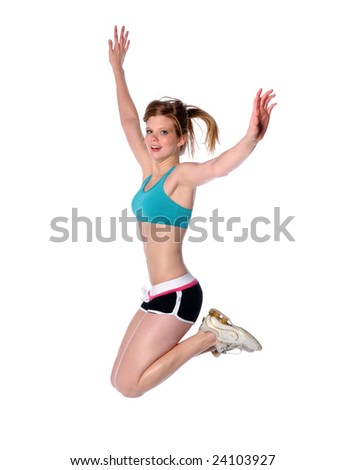 Woman jumping isolated over a white background - stock photo