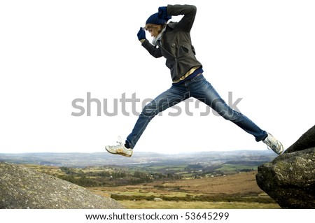 Woman Jumping Outdoors Isolated Against White - stock photo