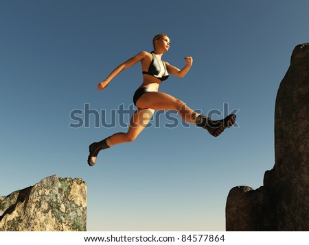 woman jumping over the pass - stock photo