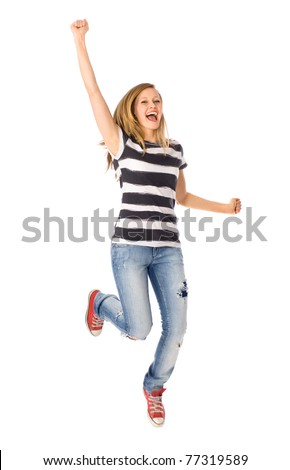 Woman jumping with joy - stock photo