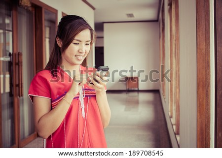 Woman Karen dress using smartphone happy in office, process color