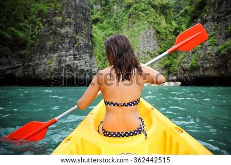 woman kayak tropical bay, Thailand Phi Phi - stock photo