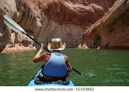 woman kayaking - stock photo