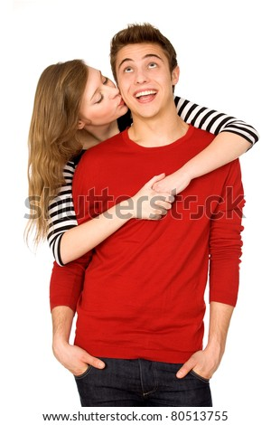 Woman kissing man - stock photo