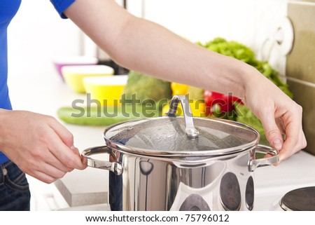 woman kitchen home food vegetabels female - stock photo