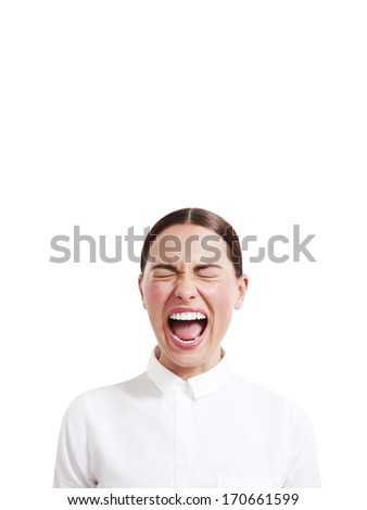 Woman laughing with eyes closed - stock photo
