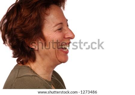 Woman laughs at a joke - stock photo