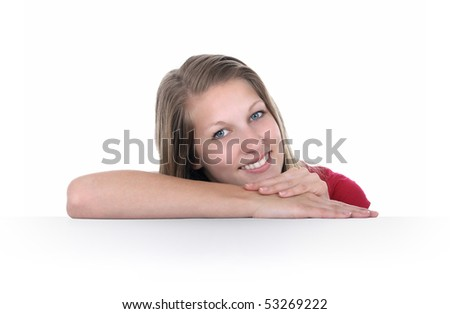 Woman lay on the blank white sign - stock photo