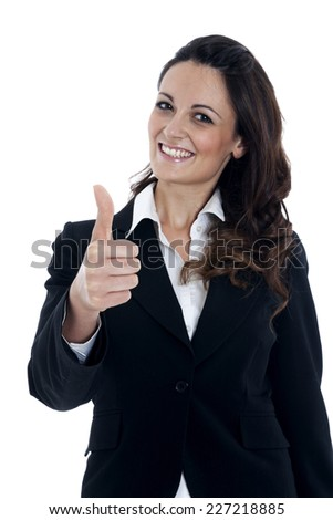 Woman leader, manager makes it work out. thumbs up - stock photo