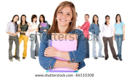 Woman leading a group of college students - isolated over a white background - stock photo