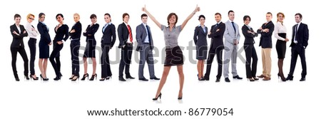woman leading a winning business team over white - stock photo