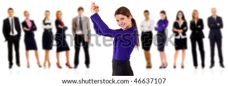 woman leading a winning businessteam over white