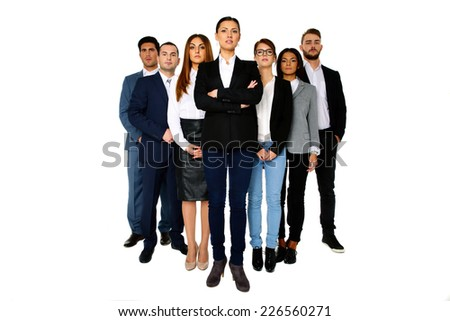 Woman leading her team over white background - stock photo