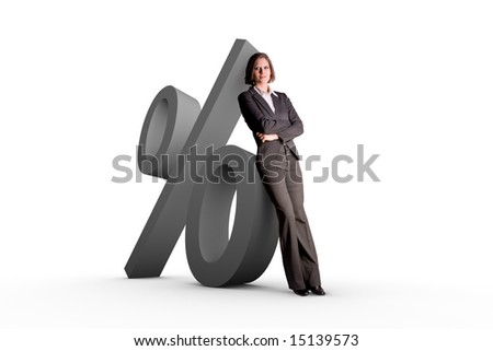 Woman leaning at a percent symbol one white background - stock photo