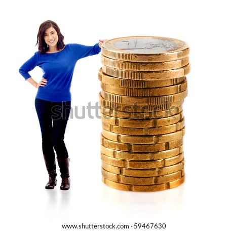 Woman leaning on a pile of euro coins - isolated over a white background - stock photo